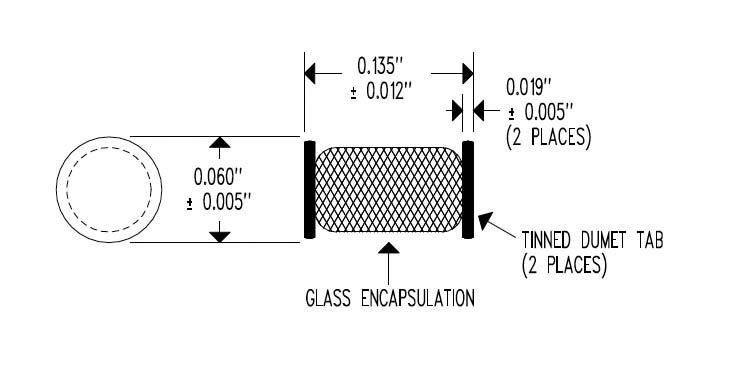 EL34 Surface Mount MELF Dimensional Drawing